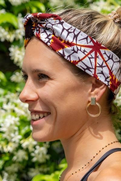 headband éthique Jambiani fabriqué avec du tissu en wax de Tanzanie