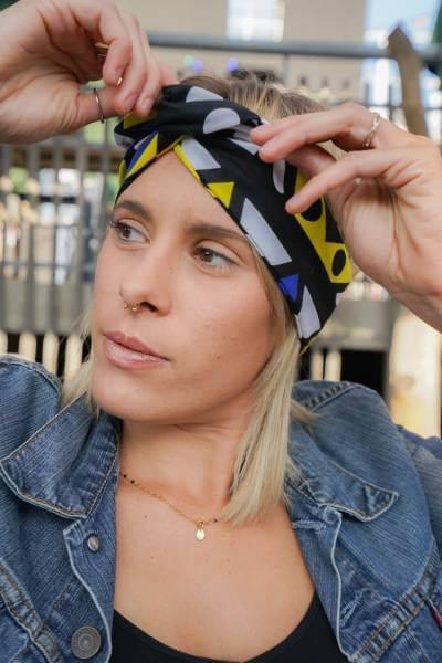 headband éthiquefabriqué avec du tissu en wax de Tanzanie